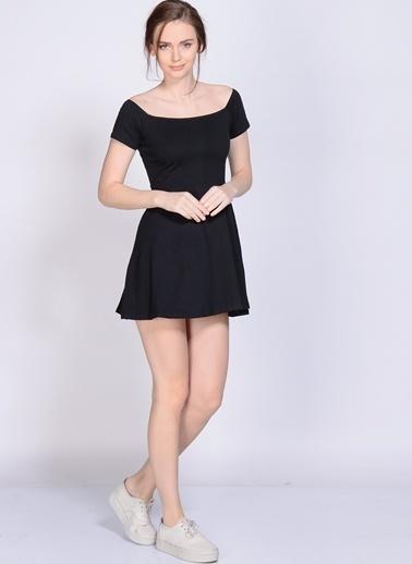 Motel Rocks Kayık Yaka Mini Kloş Elbise Siyah